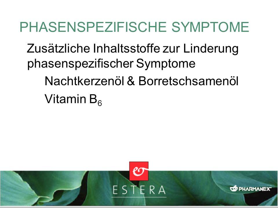PHASENSPEZIFISCHE SYMPTOME Zusätzliche Inhaltsstoffe zur Linderung phasenspezifischer Symptome Nachtkerzenöl & Borretschsamenöl Vitamin B 6