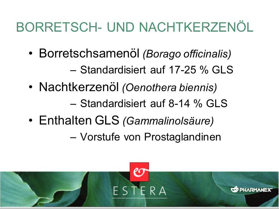BORRETSCH- UND NACHTKERZENÖL Borretschsamenöl (Borago officinalis) – Standardisiert auf 17-25 % GLS Nachtkerzenöl (Oenothera biennis) – Standardisiert