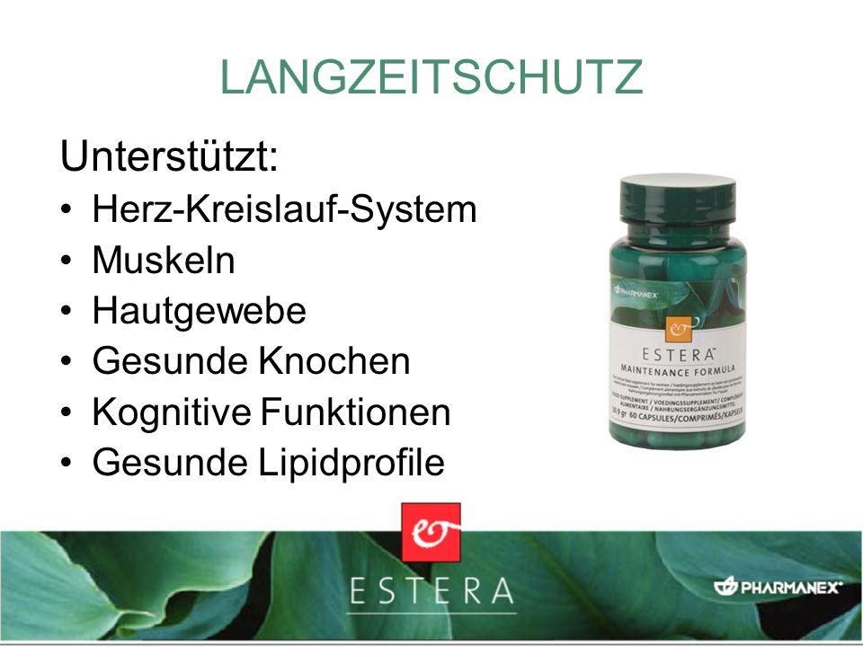 LANGZEITSCHUTZ Unterstützt: Herz-Kreislauf-System Muskeln Hautgewebe Gesunde Knochen Kognitive Funktionen Gesunde Lipidprofile