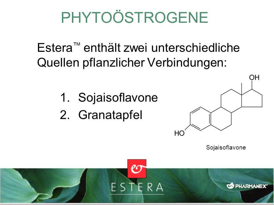 Estera enthält zwei unterschiedliche Quellen pflanzlicher Verbindungen: 1.Sojaisoflavone 2.Granatapfel PHYTOÖSTROGENE Sojaisoflavone