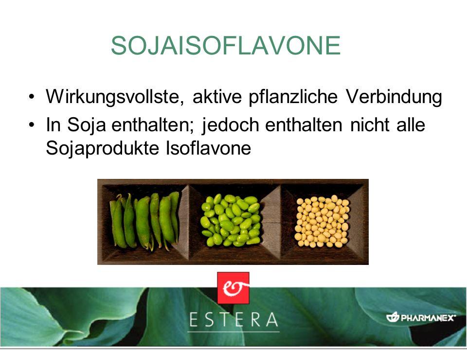Wirkungsvollste, aktive pflanzliche Verbindung In Soja enthalten; jedoch enthalten nicht alle Sojaprodukte Isoflavone SOJAISOFLAVONE