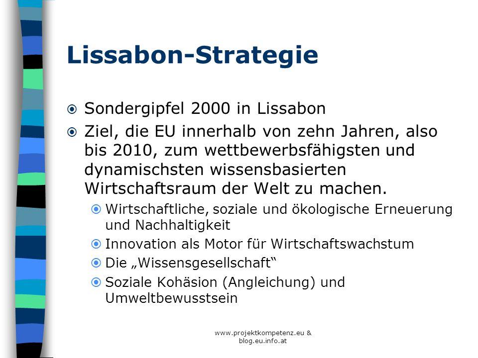 Lissabon-Strategie Sondergipfel 2000 in Lissabon Ziel, die EU innerhalb von zehn Jahren, also bis 2010, zum wettbewerbsfähigsten und dynamischsten wis