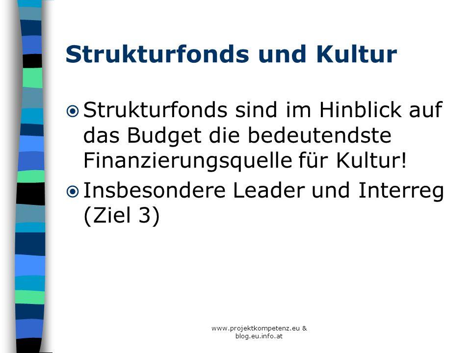 Strukturfonds und Kultur Strukturfonds sind im Hinblick auf das Budget die bedeutendste Finanzierungsquelle für Kultur! Insbesondere Leader und Interr