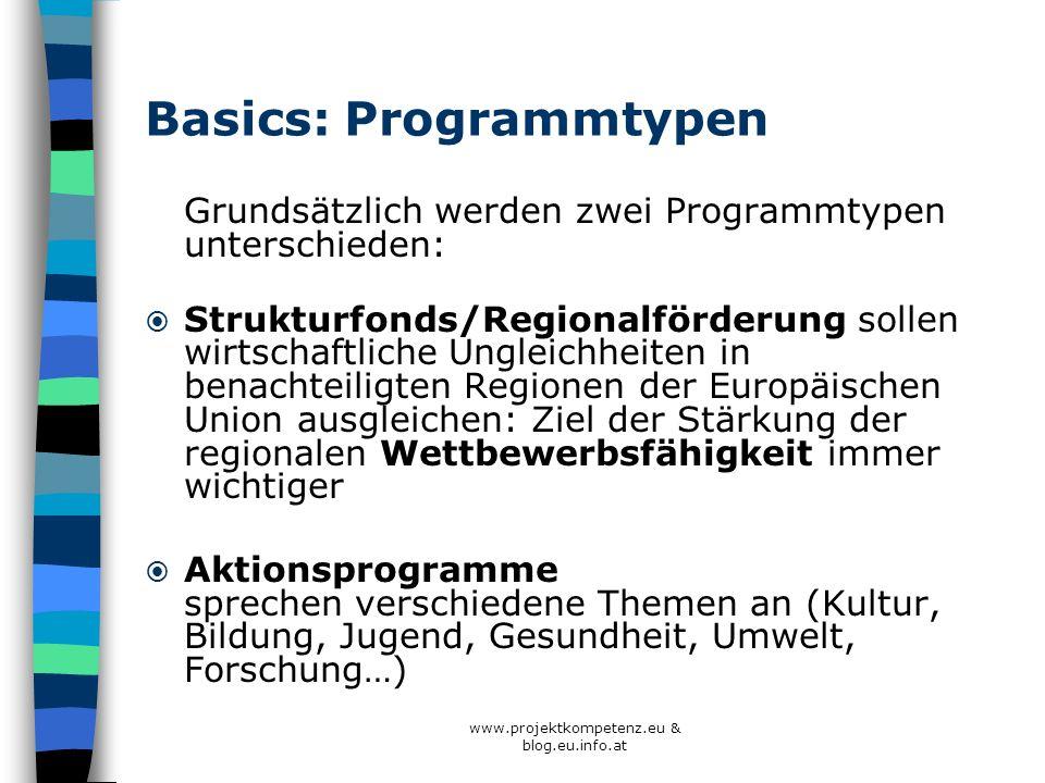 Basics: Programmtypen Grundsätzlich werden zwei Programmtypen unterschieden: Strukturfonds/Regionalförderung sollen wirtschaftliche Ungleichheiten in