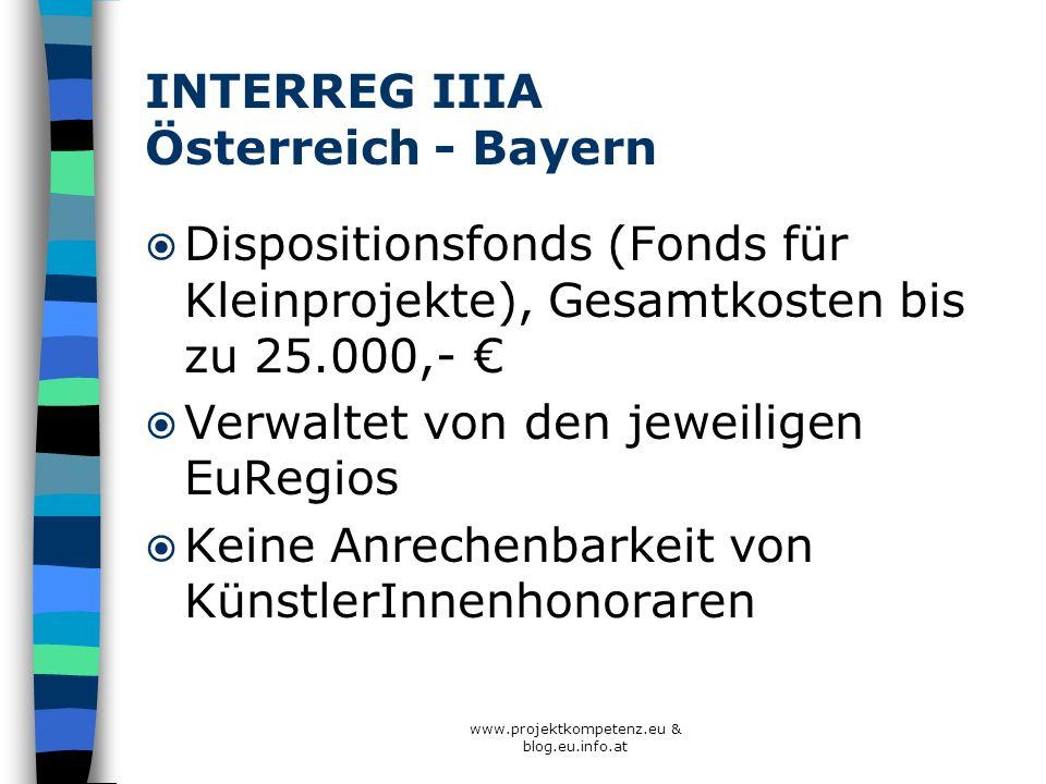 www.projektkompetenz.eu & blog.eu.info.at INTERREG IIIA Österreich - Bayern Dispositionsfonds (Fonds für Kleinprojekte), Gesamtkosten bis zu 25.000,-