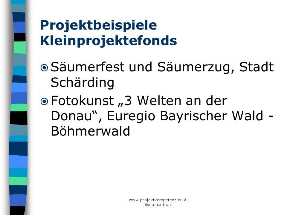 www.projektkompetenz.eu & blog.eu.info.at Projektbeispiele Kleinprojektefonds Säumerfest und Säumerzug, Stadt Schärding Fotokunst 3 Welten an der Dona