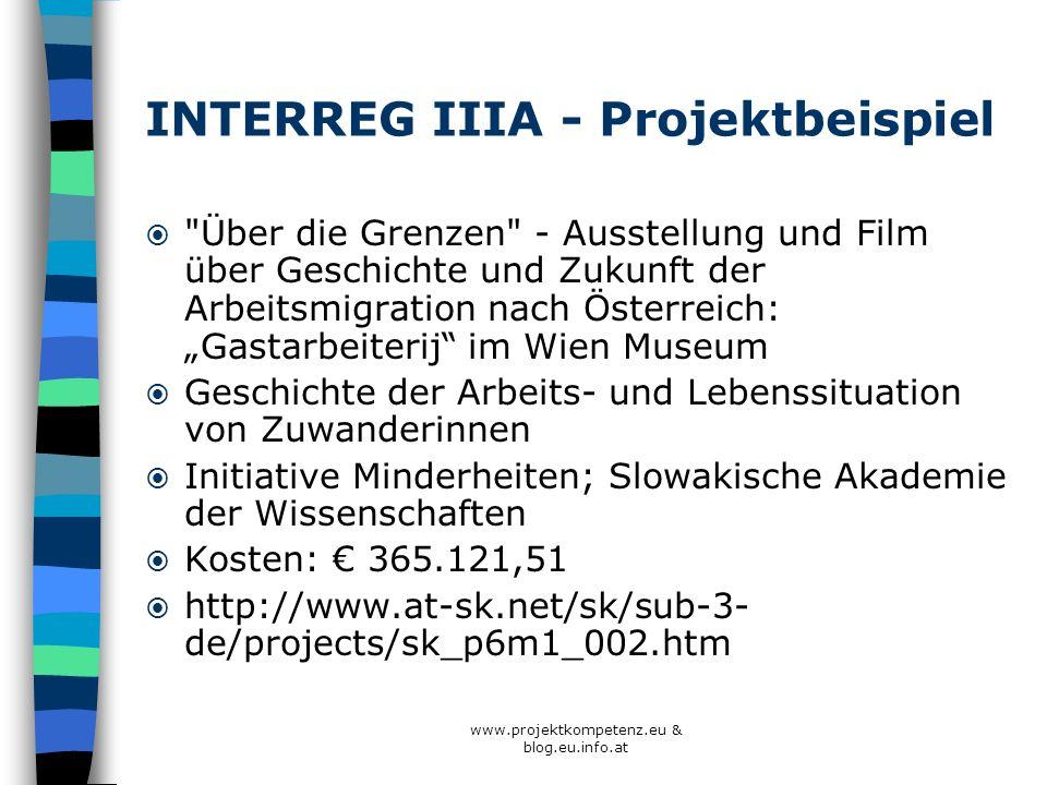 www.projektkompetenz.eu & blog.eu.info.at INTERREG IIIA - Projektbeispiel