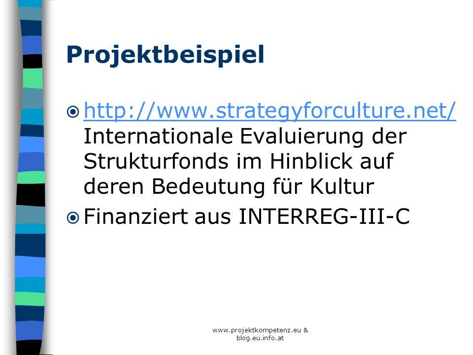 www.projektkompetenz.eu & blog.eu.info.at Projektbeispiel http://www.strategyforculture.net/ Internationale Evaluierung der Strukturfonds im Hinblick
