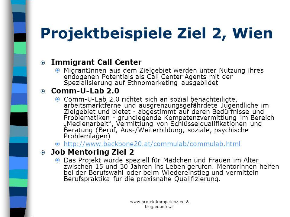 www.projektkompetenz.eu & blog.eu.info.at Projektbeispiele Ziel 2, Wien Immigrant Call Center MigrantInnen aus dem Zielgebiet werden unter Nutzung ihr