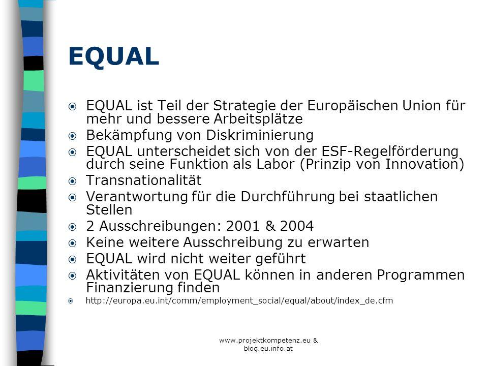 www.projektkompetenz.eu & blog.eu.info.at EQUAL EQUAL ist Teil der Strategie der Europäischen Union für mehr und bessere Arbeitsplätze Bekämpfung von