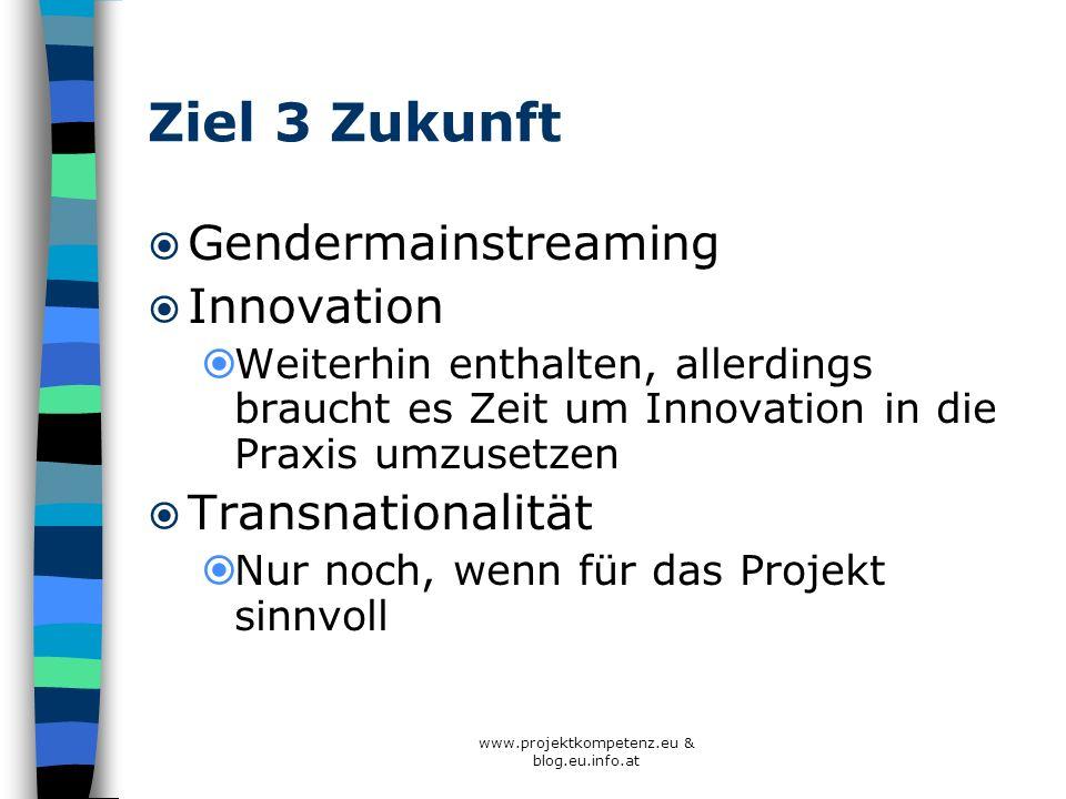 www.projektkompetenz.eu & blog.eu.info.at Ziel 3 Zukunft Gendermainstreaming Innovation Weiterhin enthalten, allerdings braucht es Zeit um Innovation