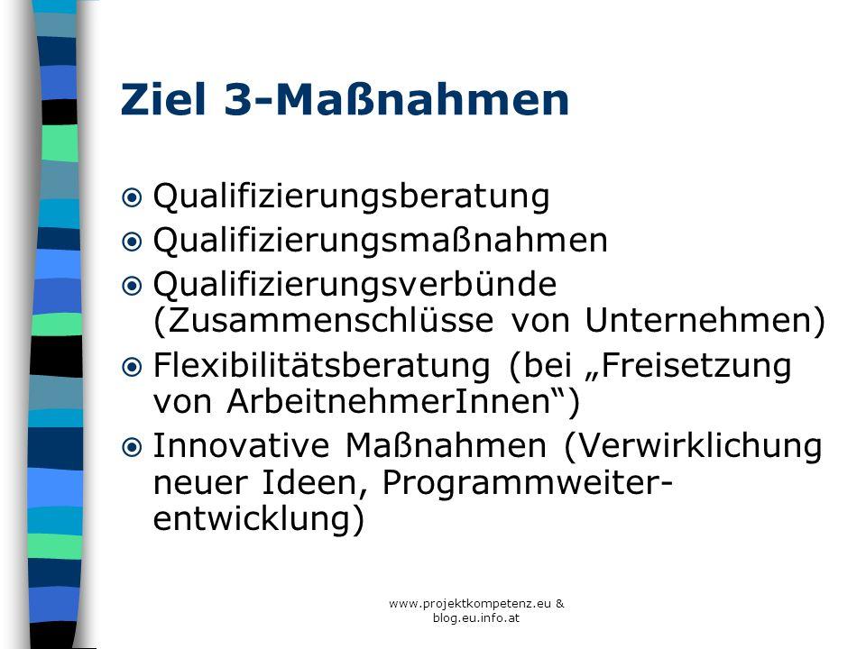 www.projektkompetenz.eu & blog.eu.info.at Ziel 3-Maßnahmen Qualifizierungsberatung Qualifizierungsmaßnahmen Qualifizierungsverbünde (Zusammenschlüsse