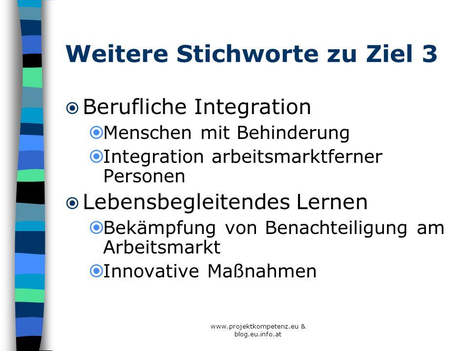 www.projektkompetenz.eu & blog.eu.info.at Weitere Stichworte zu Ziel 3 Berufliche Integration Menschen mit Behinderung Integration arbeitsmarktferner