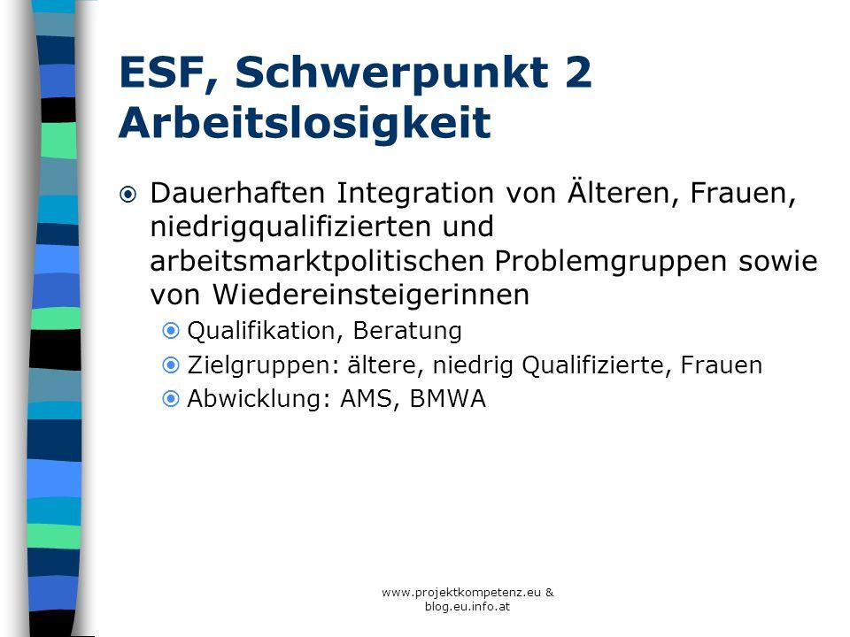 ESF, Schwerpunkt 2 Arbeitslosigkeit Dauerhaften Integration von Älteren, Frauen, niedrigqualifizierten und arbeitsmarktpolitischen Problemgruppen sowi