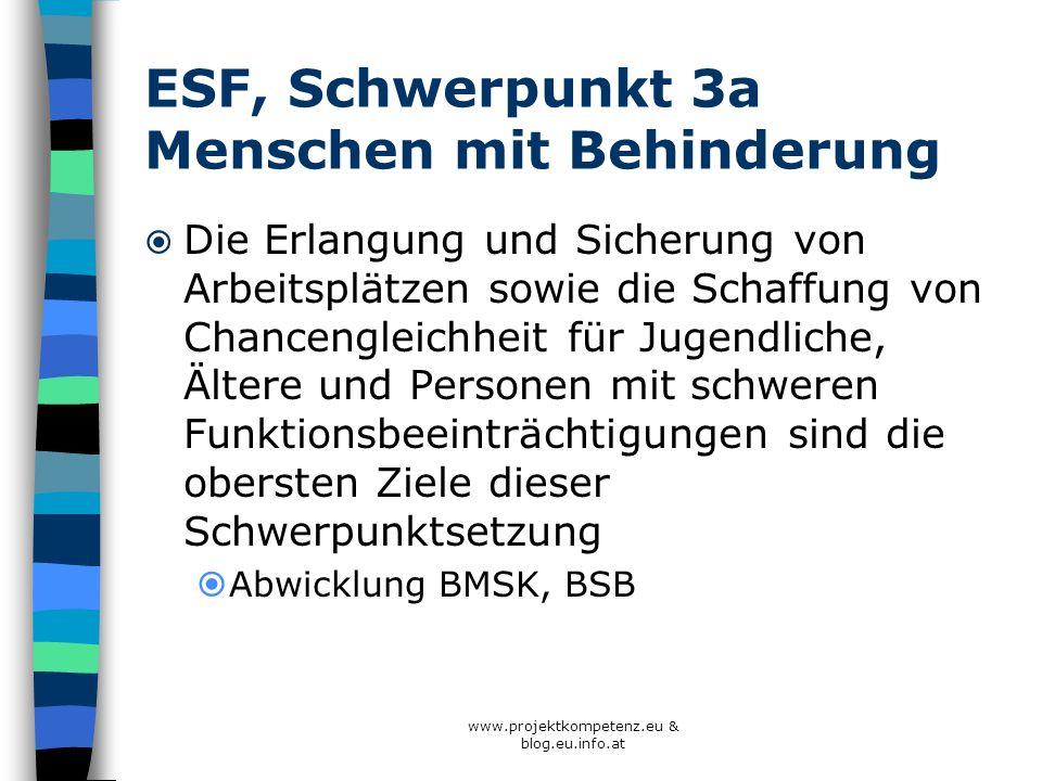 ESF, Schwerpunkt 3a Menschen mit Behinderung Die Erlangung und Sicherung von Arbeitsplätzen sowie die Schaffung von Chancengleichheit für Jugendliche,
