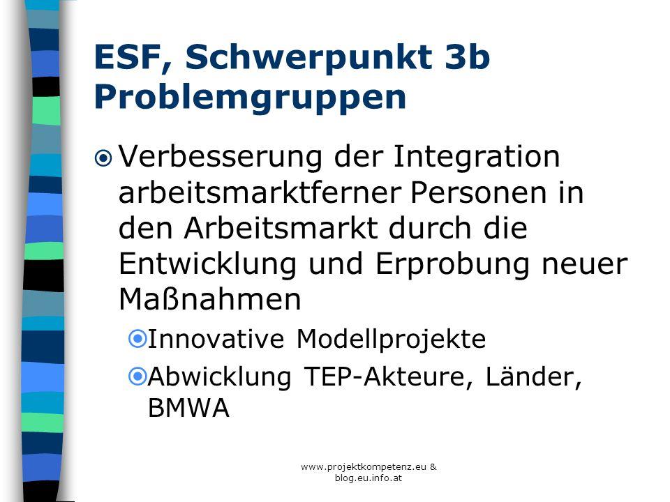 ESF, Schwerpunkt 3b Problemgruppen Verbesserung der Integration arbeitsmarktferner Personen in den Arbeitsmarkt durch die Entwicklung und Erprobung ne