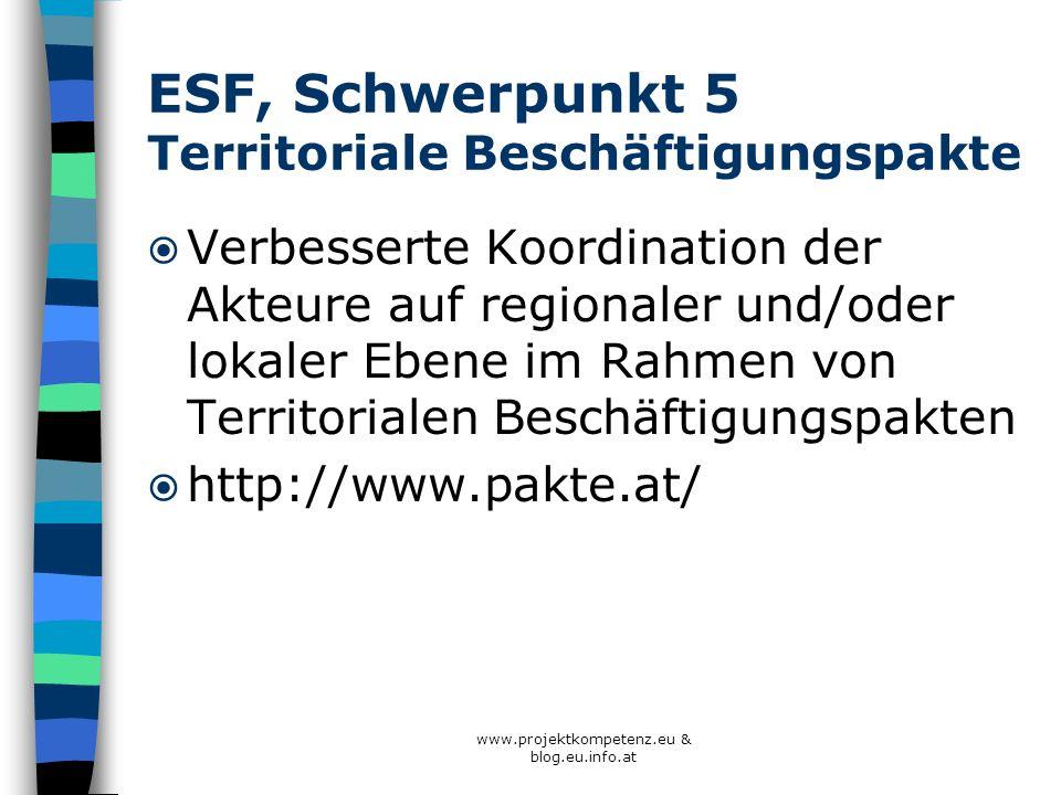 ESF, Schwerpunkt 5 Territoriale Beschäftigungspakte Verbesserte Koordination der Akteure auf regionaler und/oder lokaler Ebene im Rahmen von Territori