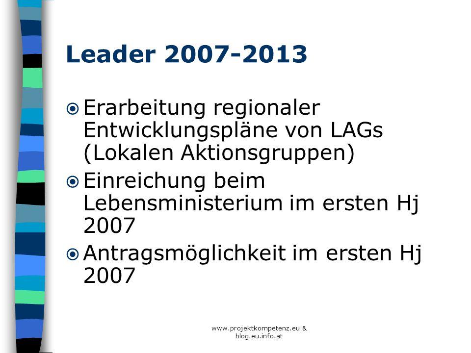 www.projektkompetenz.eu & blog.eu.info.at Leader 2007-2013 Erarbeitung regionaler Entwicklungspläne von LAGs (Lokalen Aktionsgruppen) Einreichung beim
