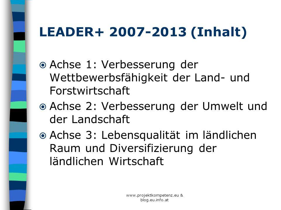 www.projektkompetenz.eu & blog.eu.info.at LEADER+ 2007-2013 (Inhalt) Achse 1: Verbesserung der Wettbewerbsfähigkeit der Land- und Forstwirtschaft Achs