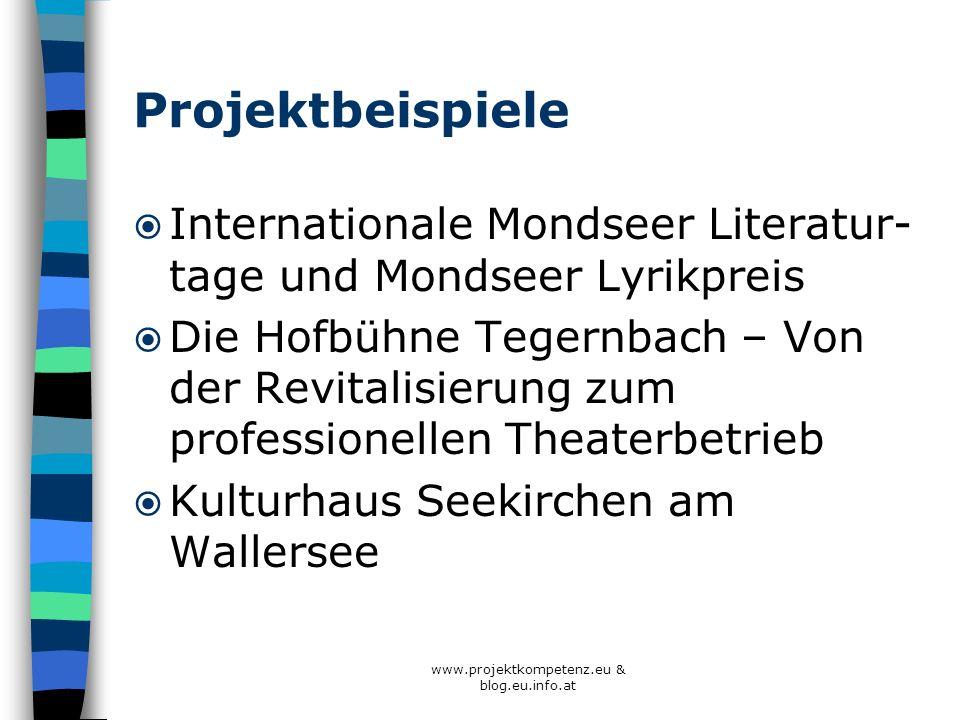 www.projektkompetenz.eu & blog.eu.info.at Projektbeispiele Internationale Mondseer Literatur- tage und Mondseer Lyrikpreis Die Hofbühne Tegernbach – V