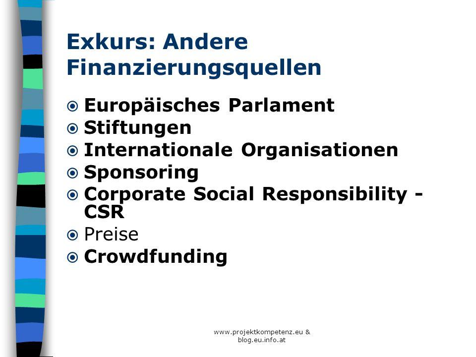 www.projektkompetenz.eu & blog.eu.info.at Exkurs: Andere Finanzierungsquellen Europäisches Parlament Stiftungen Internationale Organisationen Sponsori