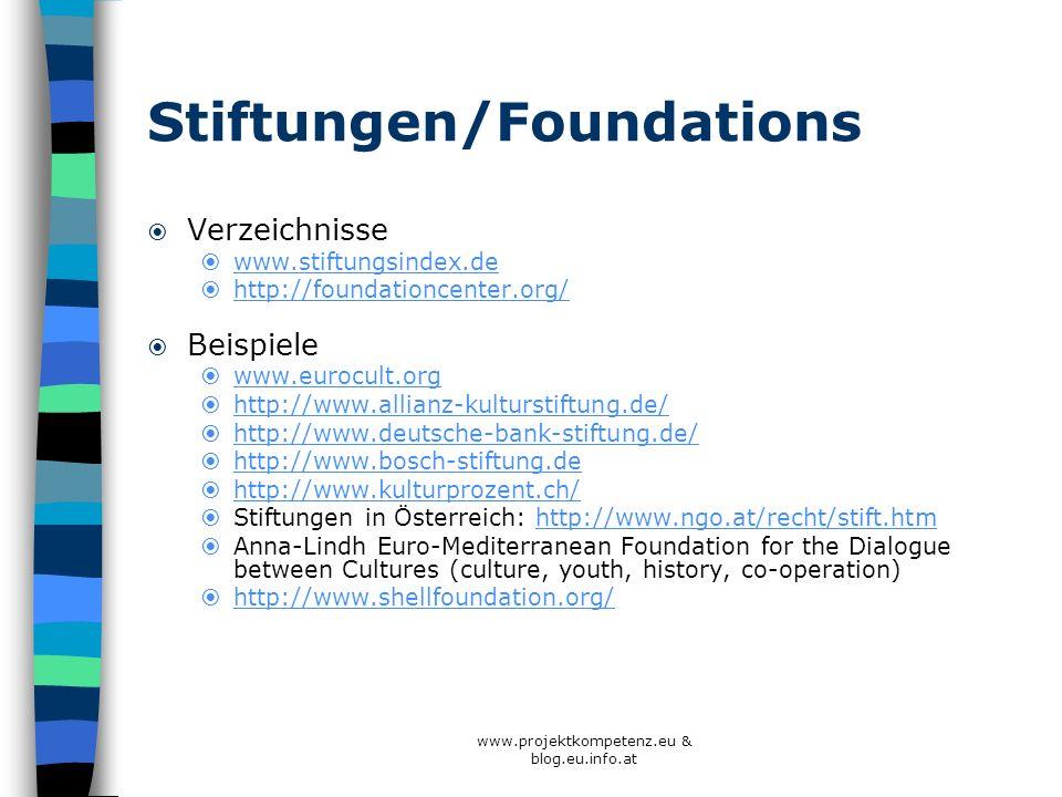Stiftungen/Foundations Verzeichnisse www.stiftungsindex.de http://foundationcenter.org/ Beispiele www.eurocult.org http://www.allianz-kulturstiftung.d