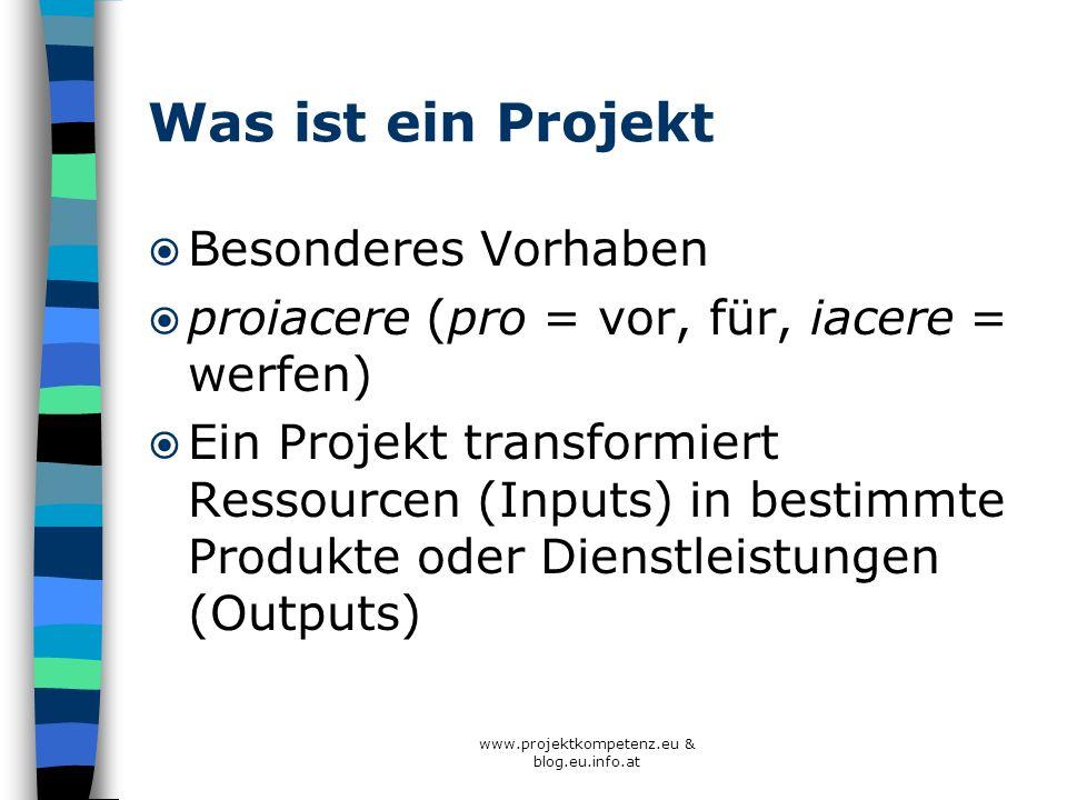 Was ist ein Projekt Besonderes Vorhaben proiacere (pro = vor, für, iacere = werfen) Ein Projekt transformiert Ressourcen (Inputs) in bestimmte Produkt