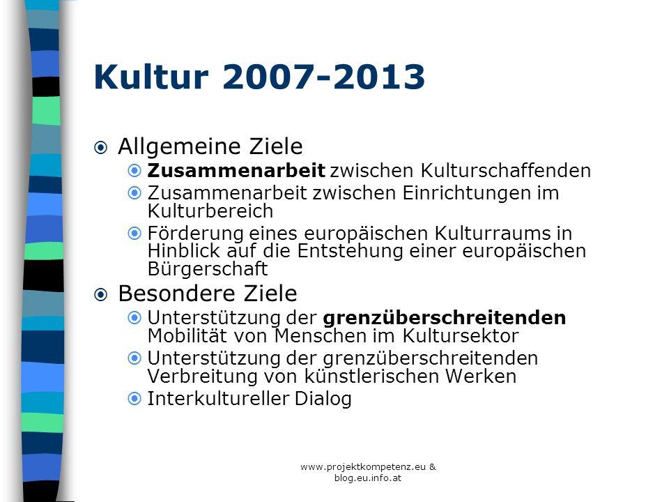 www.projektkompetenz.eu & blog.eu.info.at Kultur 2007-2013 Allgemeine Ziele Zusammenarbeit zwischen Kulturschaffenden Zusammenarbeit zwischen Einricht