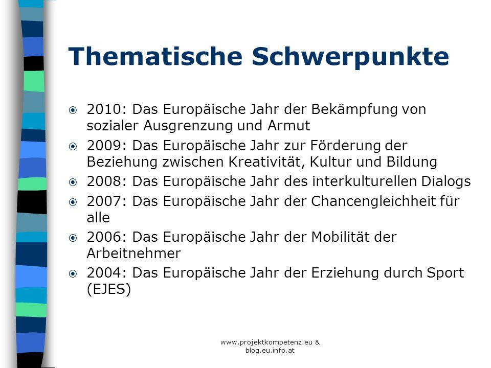 Thematische Schwerpunkte 2010: Das Europäische Jahr der Bekämpfung von sozialer Ausgrenzung und Armut 2009: Das Europäische Jahr zur Förderung der Bez