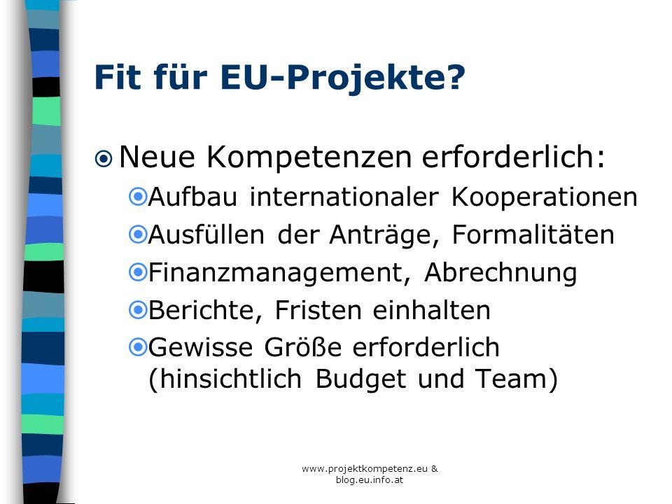 Fit für EU-Projekte? Neue Kompetenzen erforderlich: Aufbau internationaler Kooperationen Ausfüllen der Anträge, Formalitäten Finanzmanagement, Abrechn