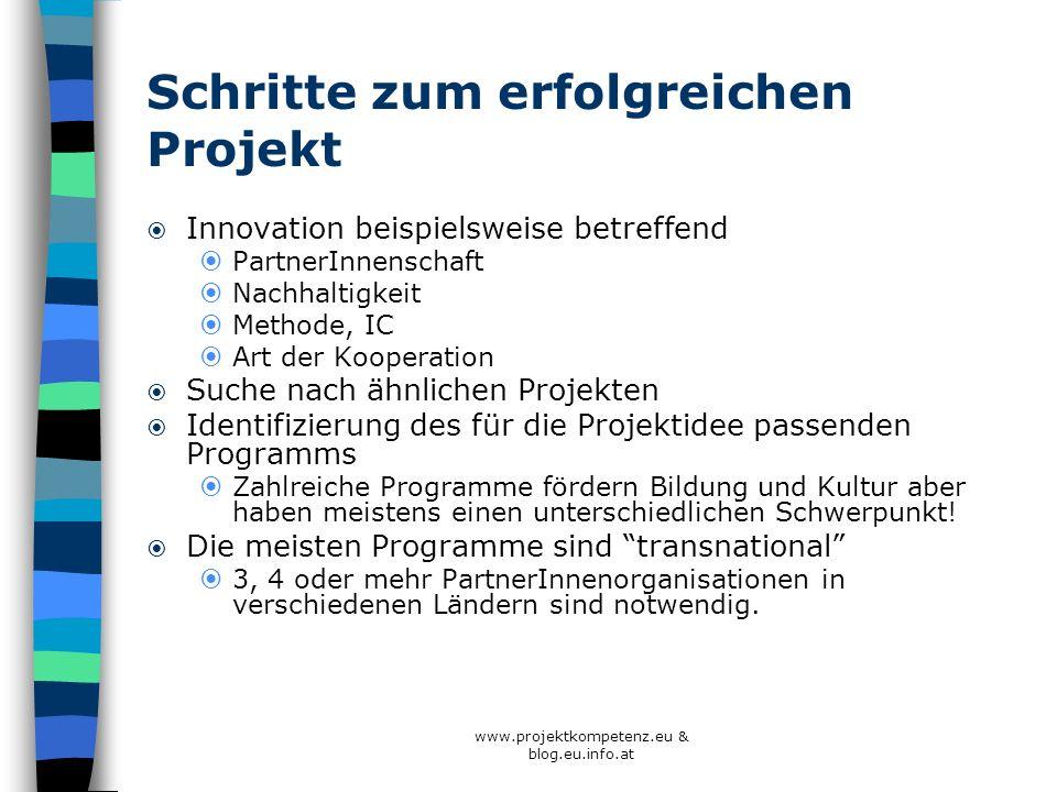 www.projektkompetenz.eu & blog.eu.info.at Schritte zum erfolgreichen Projekt Innovation beispielsweise betreffend PartnerInnenschaft Nachhaltigkeit Me