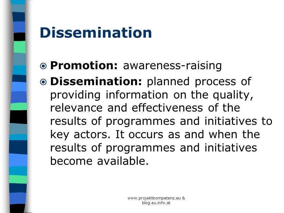 www.projektkompetenz.eu & blog.eu.info.at Dissemination Promotion: awareness-raising Dissemination: planned process of providing information on the qu
