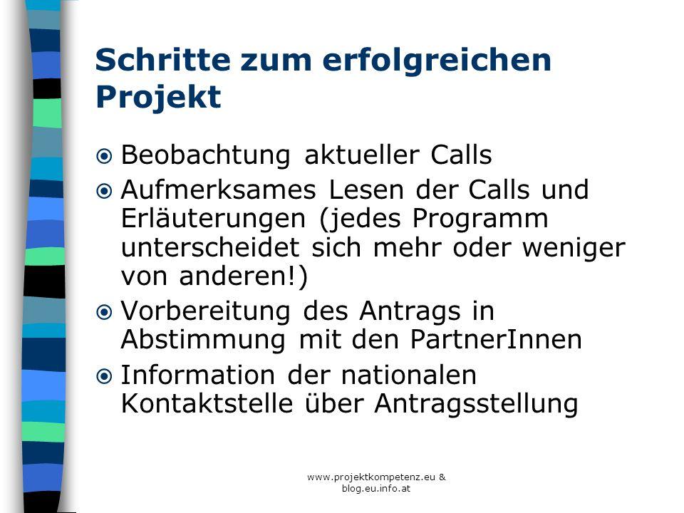 www.projektkompetenz.eu & blog.eu.info.at Schritte zum erfolgreichen Projekt Beobachtung aktueller Calls Aufmerksames Lesen der Calls und Erläuterunge