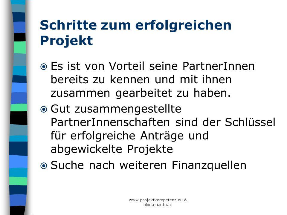 www.projektkompetenz.eu & blog.eu.info.at Schritte zum erfolgreichen Projekt Es ist von Vorteil seine PartnerInnen bereits zu kennen und mit ihnen zus