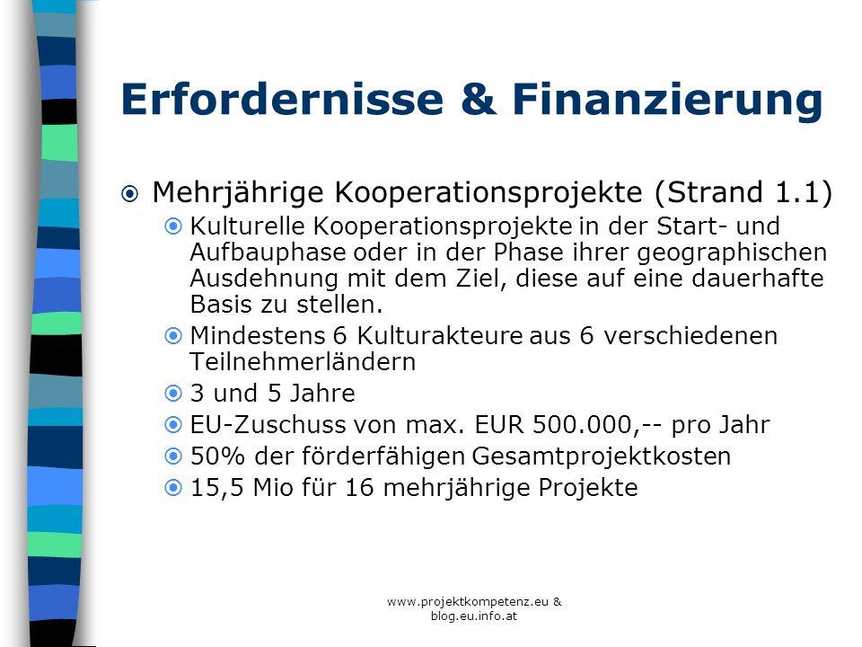 www.projektkompetenz.eu & blog.eu.info.at Erfordernisse & Finanzierung Mehrjährige Kooperationsprojekte (Strand 1.1) Kulturelle Kooperationsprojekte i