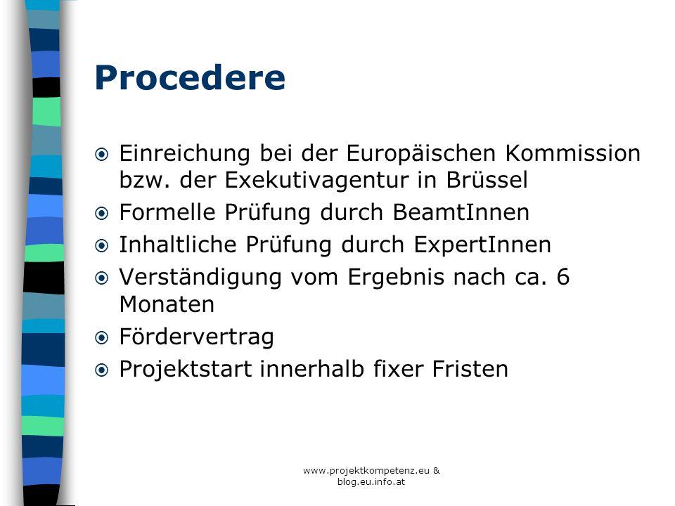 www.projektkompetenz.eu & blog.eu.info.at Procedere Einreichung bei der Europäischen Kommission bzw. der Exekutivagentur in Brüssel Formelle Prüfung d