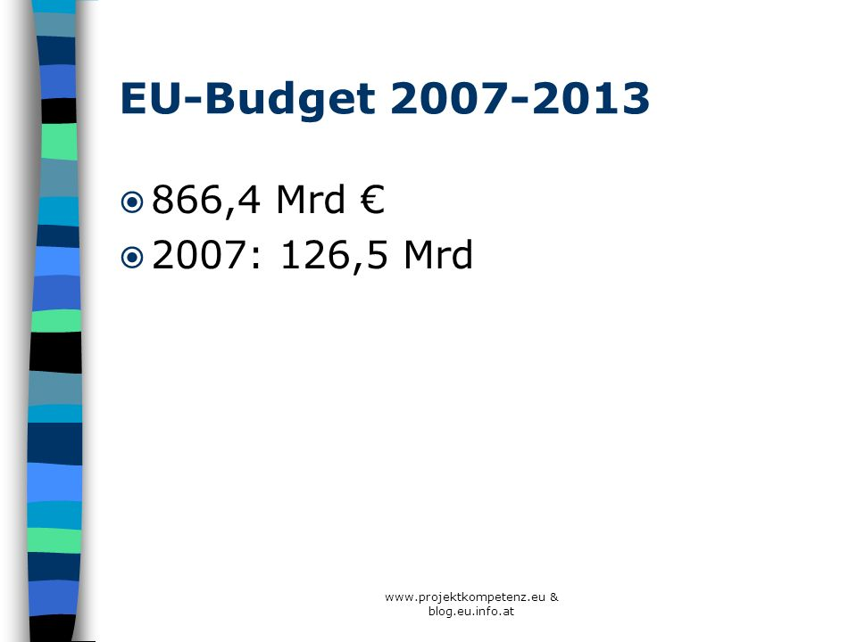 www.projektkompetenz.eu & blog.eu.info.at Budget Bildungsprogramme ab 2007 Bessere finanzielle Ausstattung 2000-2006: 4 Mrd.