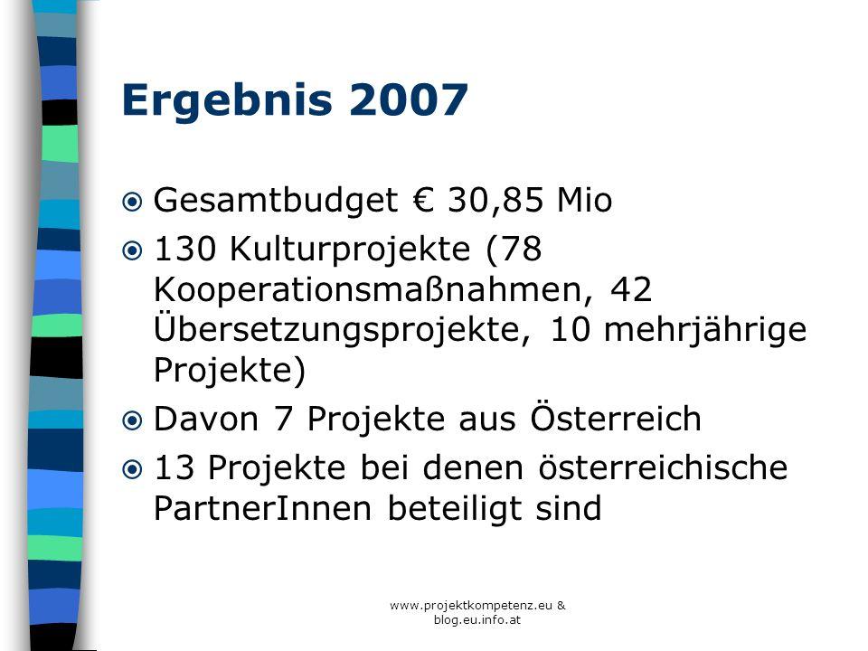 Ergebnis 2007 Gesamtbudget 30,85 Mio 130 Kulturprojekte (78 Kooperationsmaßnahmen, 42 Übersetzungsprojekte, 10 mehrjährige Projekte) Davon 7 Projekte