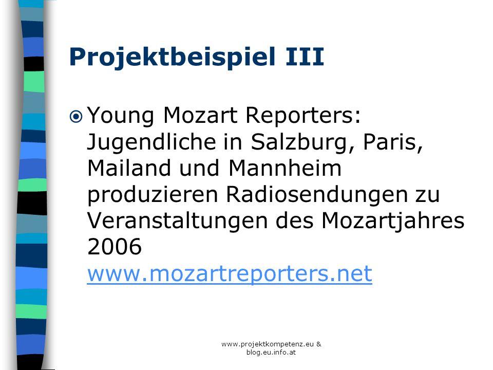 www.projektkompetenz.eu & blog.eu.info.at Projektbeispiel III Young Mozart Reporters: Jugendliche in Salzburg, Paris, Mailand und Mannheim produzieren
