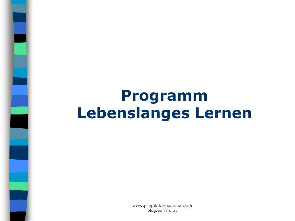Programm Lebenslanges Lernen www.projektkompetenz.eu & blog.eu.info.at