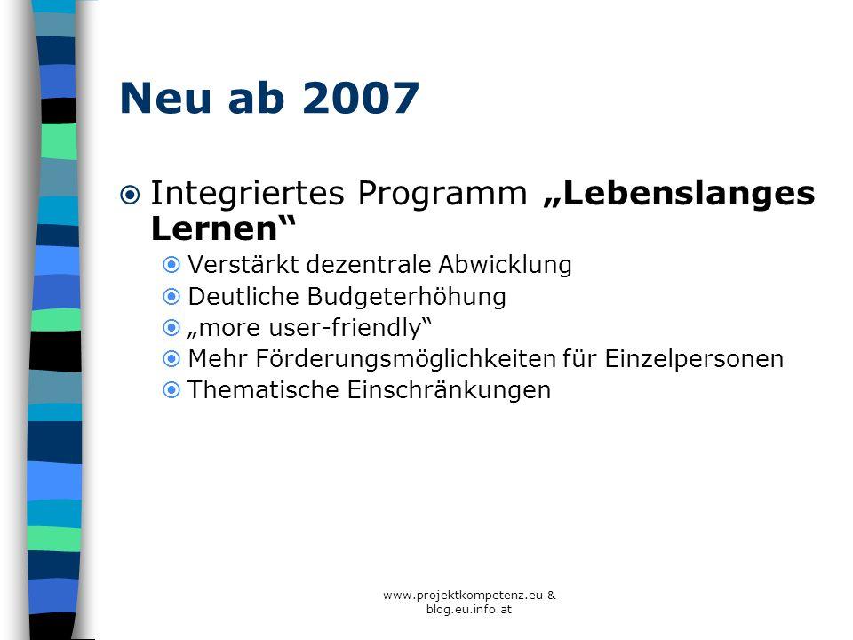 Neu ab 2007 Integriertes Programm Lebenslanges Lernen Verstärkt dezentrale Abwicklung Deutliche Budgeterhöhung more user-friendly Mehr Förderungsmögli