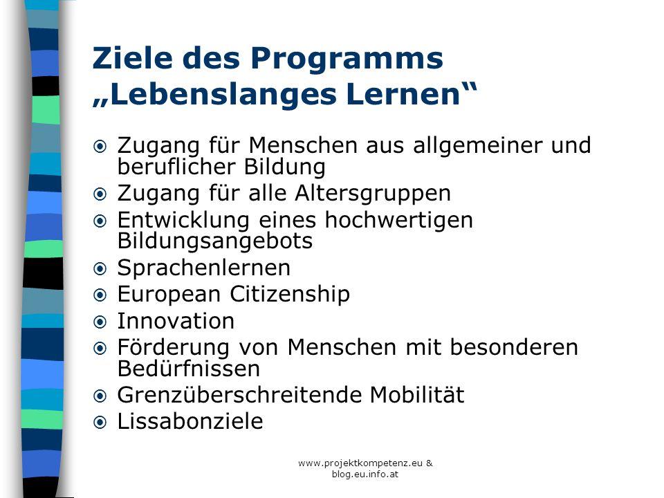 www.projektkompetenz.eu & blog.eu.info.at Ziele des Programms Lebenslanges Lernen Zugang für Menschen aus allgemeiner und beruflicher Bildung Zugang f