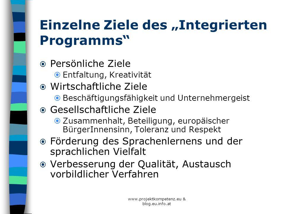 www.projektkompetenz.eu & blog.eu.info.at Einzelne Ziele des Integrierten Programms Persönliche Ziele Entfaltung, Kreativität Wirtschaftliche Ziele Be