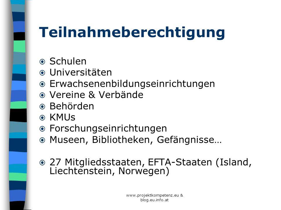 www.projektkompetenz.eu & blog.eu.info.at Teilnahmeberechtigung Schulen Universitäten Erwachsenenbildungseinrichtungen Vereine & Verbände Behörden KMU