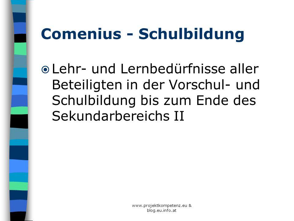 Comenius - Schulbildung Lehr- und Lernbedürfnisse aller Beteiligten in der Vorschul- und Schulbildung bis zum Ende des Sekundarbereichs II www.projekt