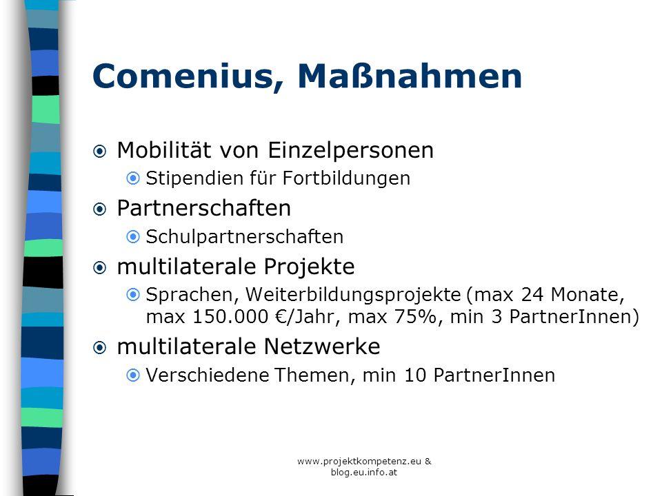 Comenius, Maßnahmen Mobilität von Einzelpersonen Stipendien für Fortbildungen Partnerschaften Schulpartnerschaften multilaterale Projekte Sprachen, We
