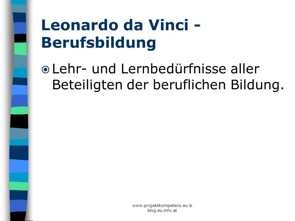 Leonardo da Vinci - Berufsbildung Lehr- und Lernbedürfnisse aller Beteiligten der beruflichen Bildung. www.projektkompetenz.eu & blog.eu.info.at