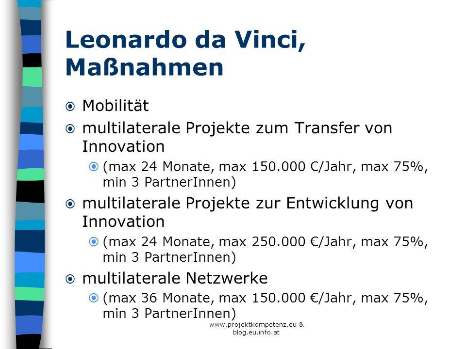 Leonardo da Vinci, Maßnahmen Mobilität multilaterale Projekte zum Transfer von Innovation (max 24 Monate, max 150.000 /Jahr, max 75%, min 3 PartnerInn