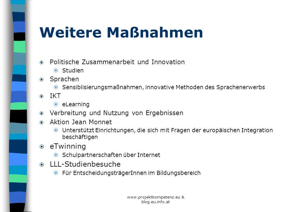 Weitere Maßnahmen Politische Zusammenarbeit und Innovation Studien Sprachen Sensiblisierungsmaßnahmen, innovative Methoden des Sprachenerwerbs IKT eLe