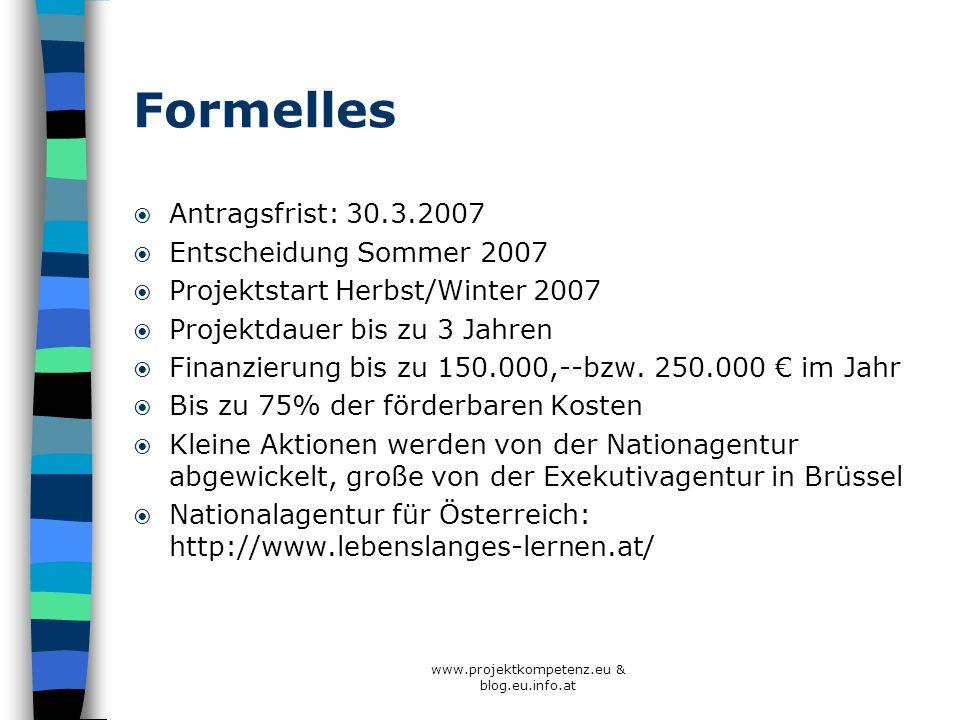 Formelles Antragsfrist: 30.3.2007 Entscheidung Sommer 2007 Projektstart Herbst/Winter 2007 Projektdauer bis zu 3 Jahren Finanzierung bis zu 150.000,--